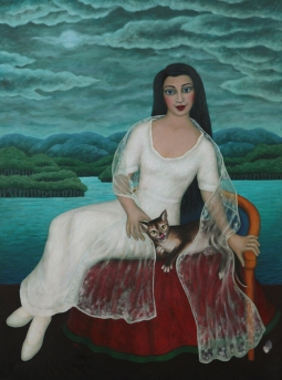 Mary Caspar: Woman by the seashore, with cat