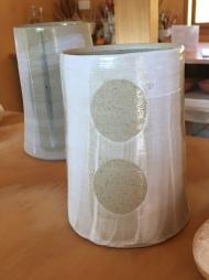 Slips and stencils on stoneware