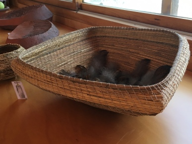 Large spinifex basket with feathers