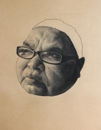 Aunty Maureen, Chloe Neath, 2014, Charcoal on brown paper, 100cm x 70cm,