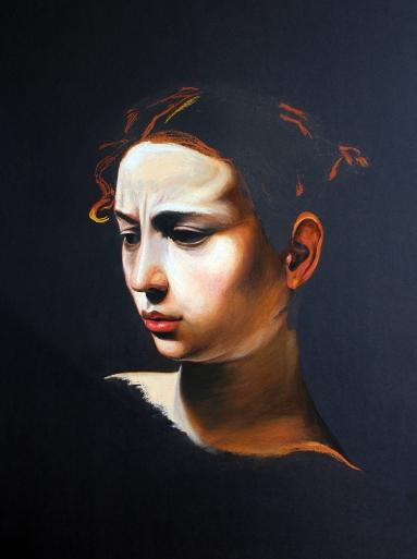 Judith, Chloe Neath, 2014, Soft pastel & charcoal on brown paper, 100cm x 70cm